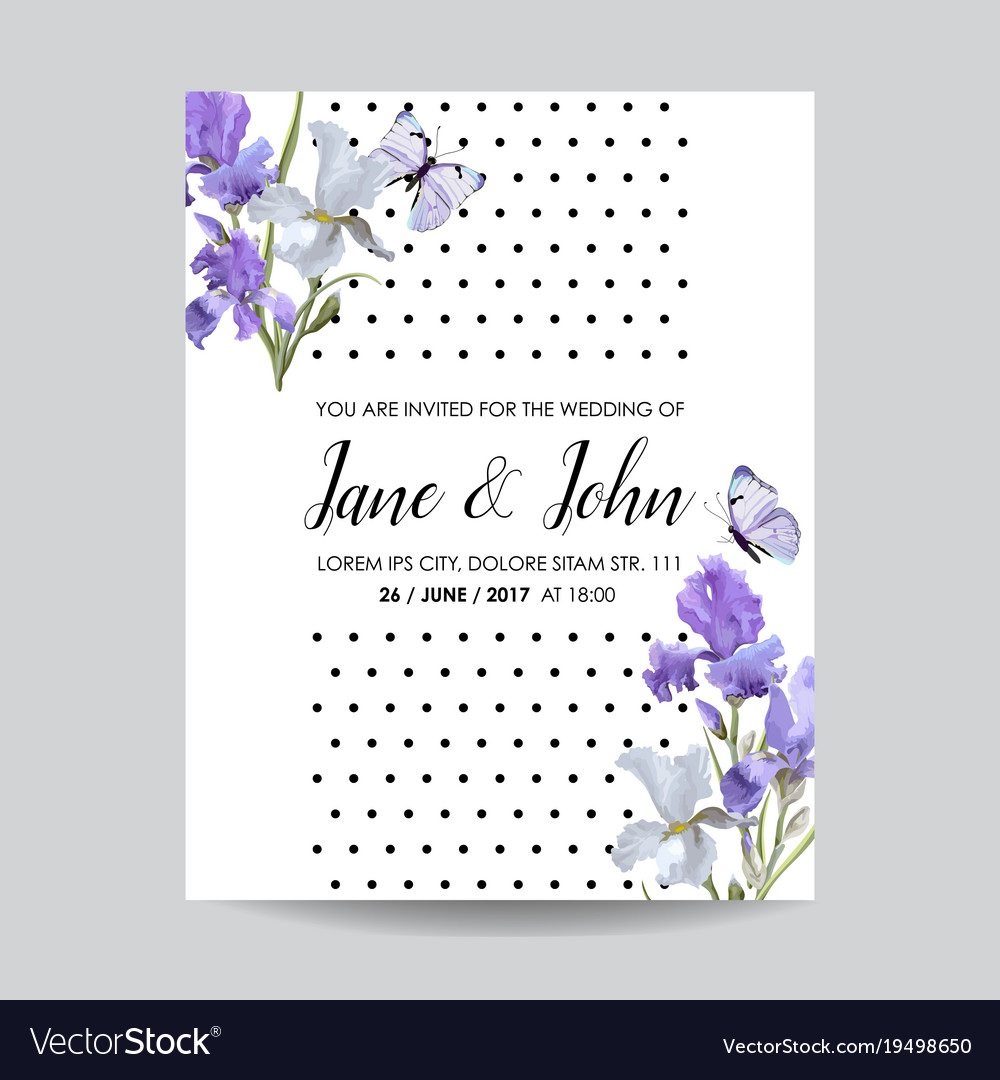 Floral Wedding Invitation Template Greeting Card Vector Image