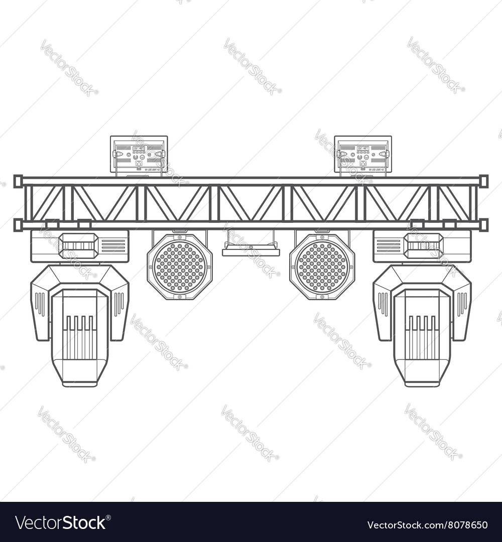 Metal Truss Concert Lighting Vector Image