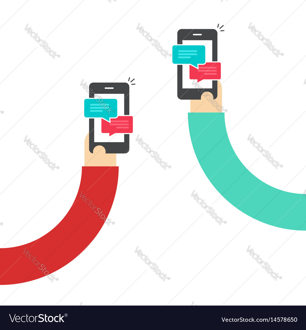 People chatting with mobile phones hands