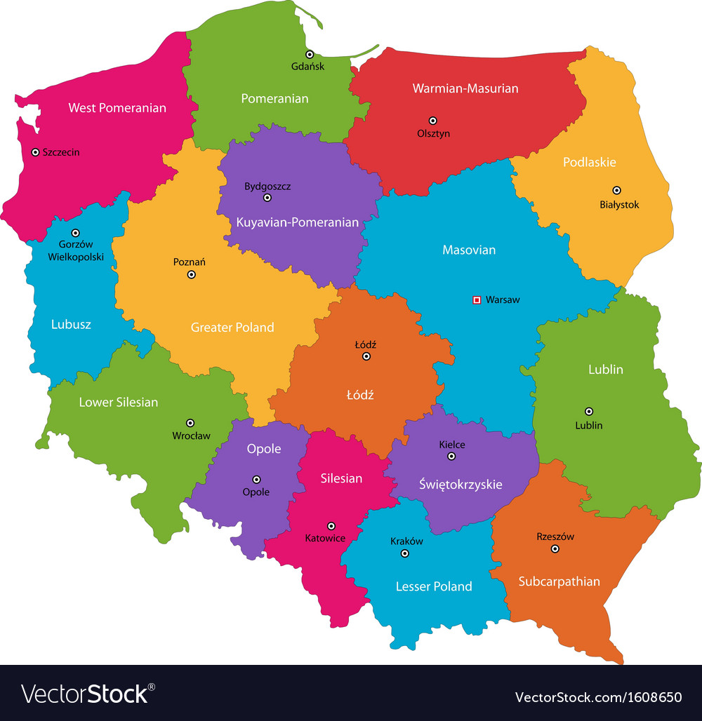 Poland map Royalty Free Vector Image   VectorStock