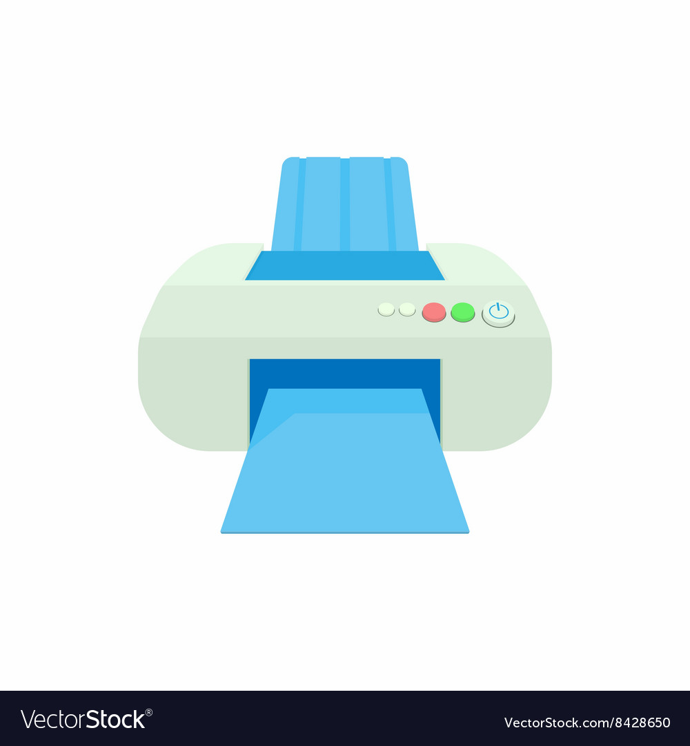 Printer icon in cartoon style vector image