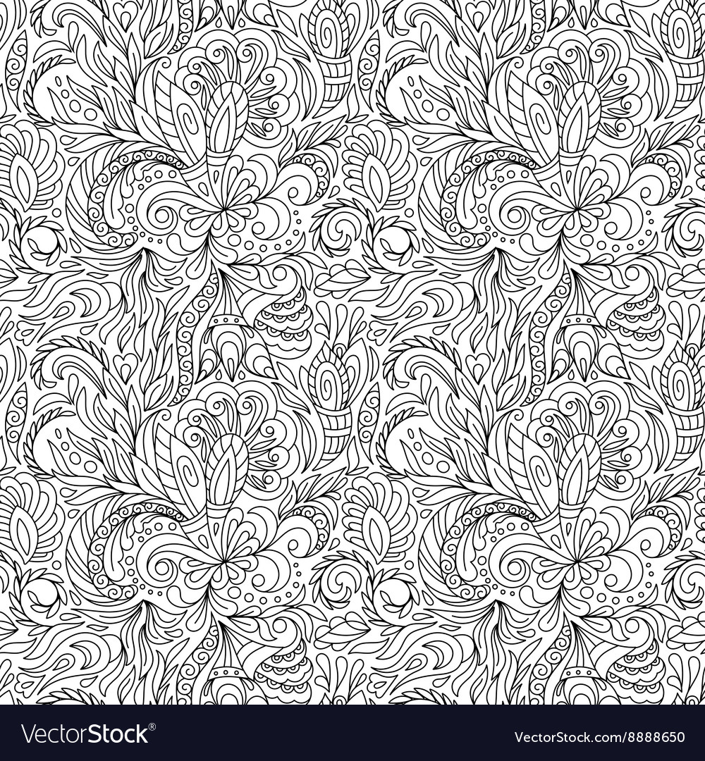 Seamless pattern for coloring book Ethnic