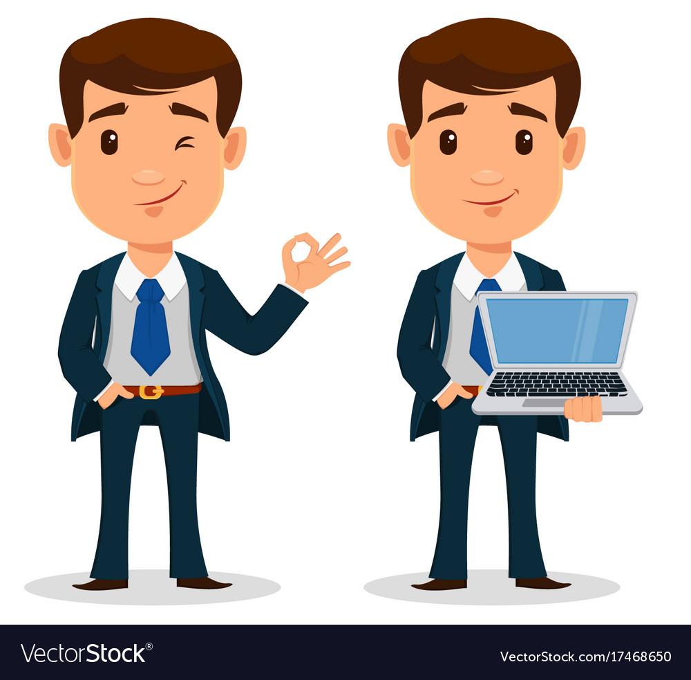 set of business man cartoon character in smart vector image rh vectorstock com businessman cartoon images businessman cartoon