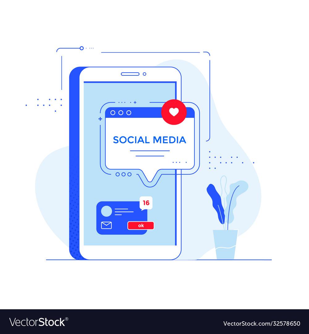 Social media network concept banner design