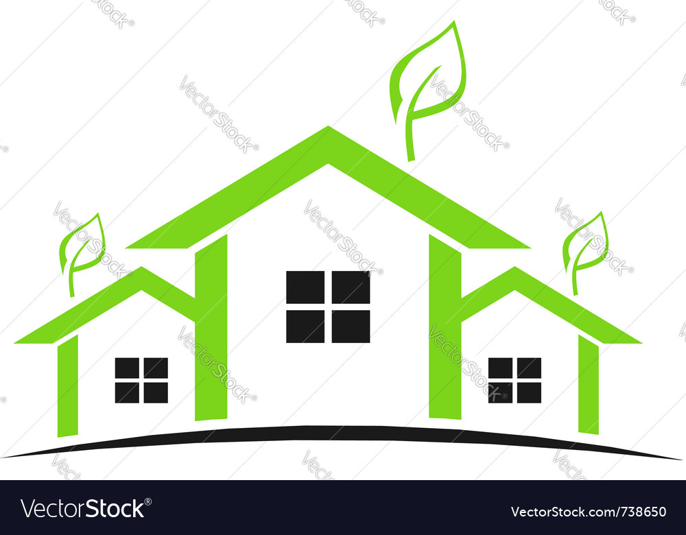 Three green houses vector image