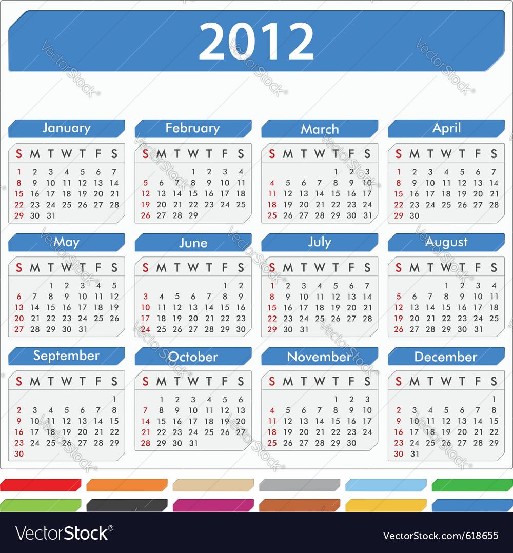 2012 calendar Royalty Free Vector Image - VectorStock