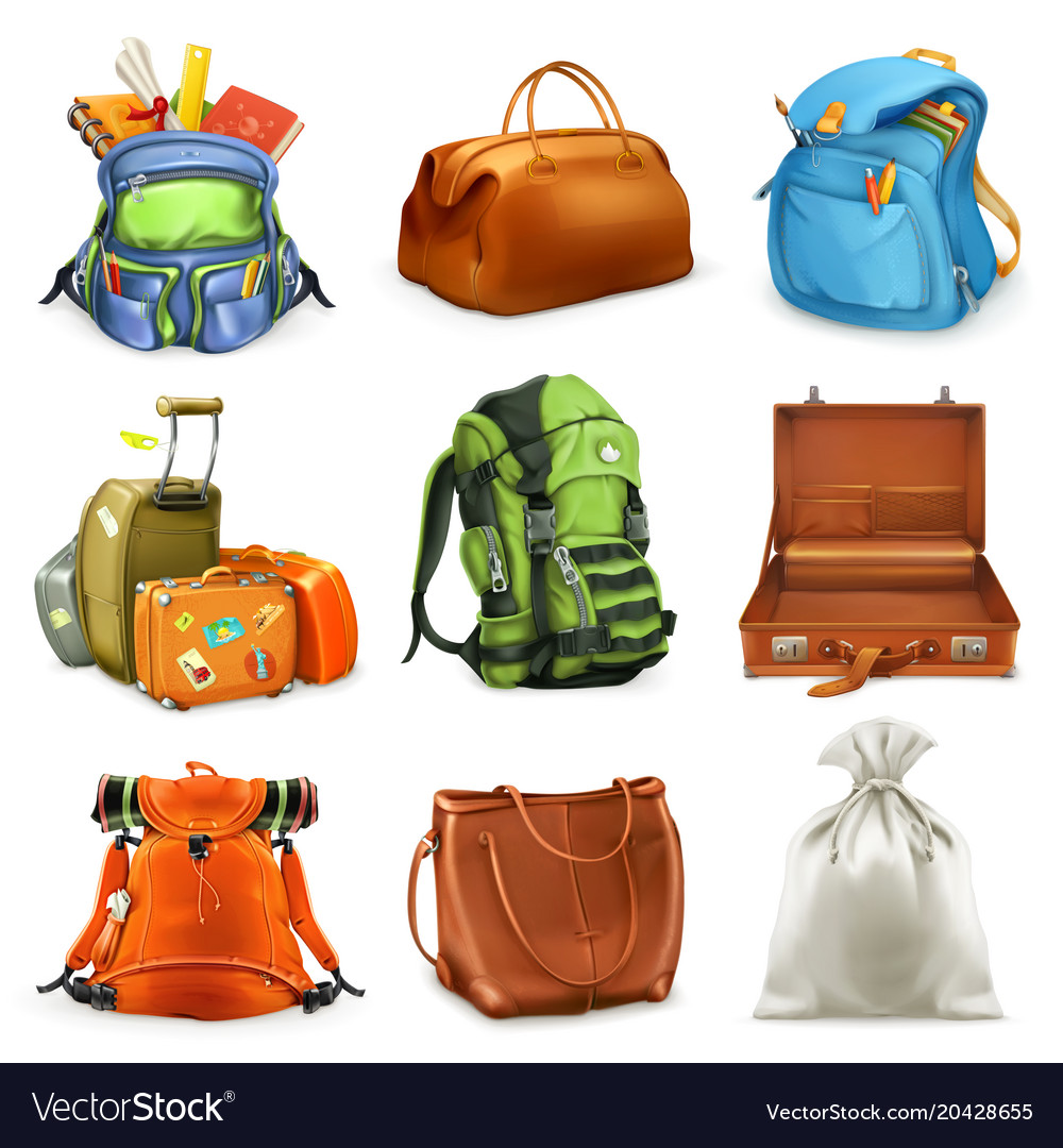 Bags set backpack schoolbag suitcase sack 3d icon