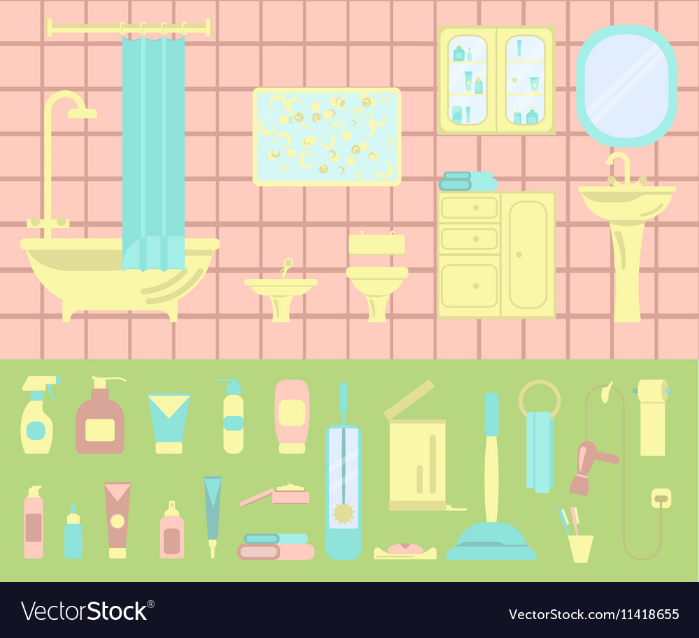 Bathroom interior and set of bath icons vector image