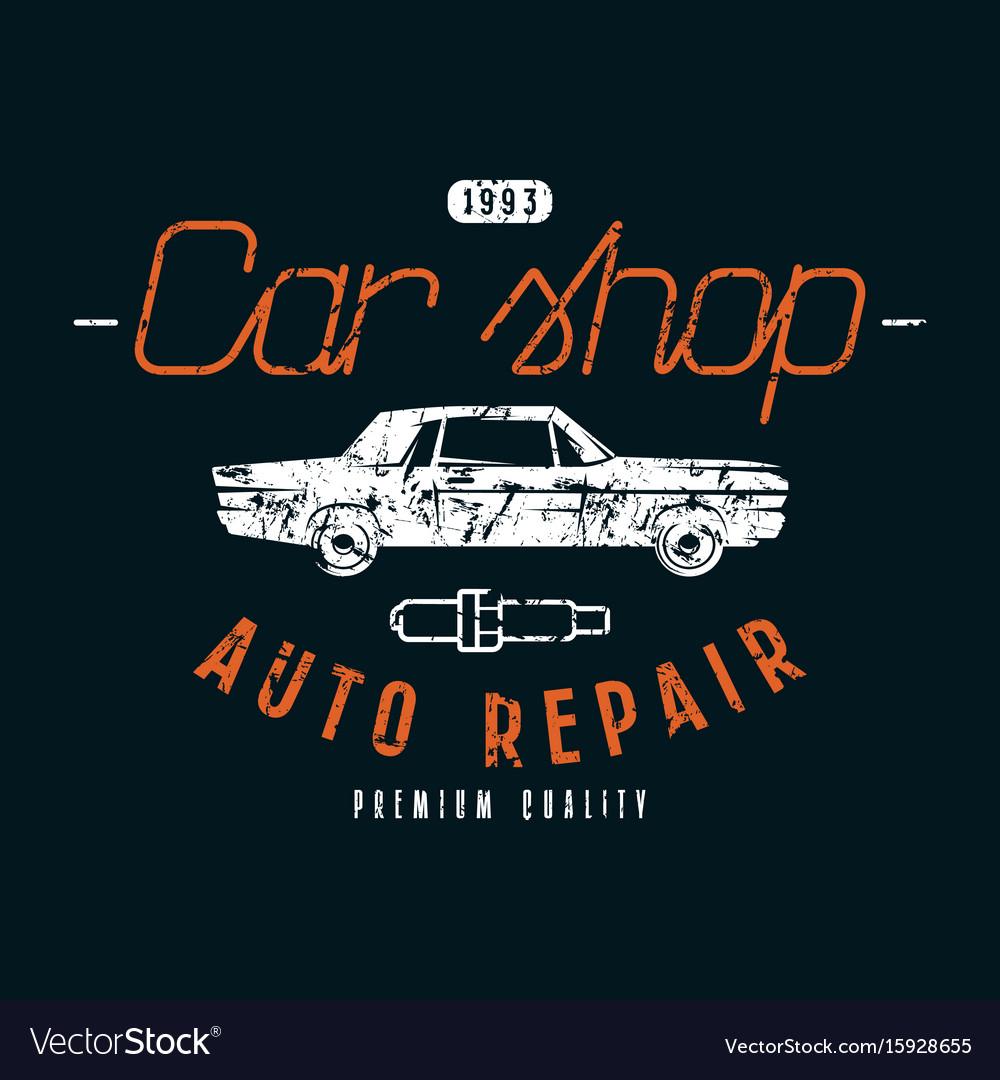 Car shop and repair emblem vector image