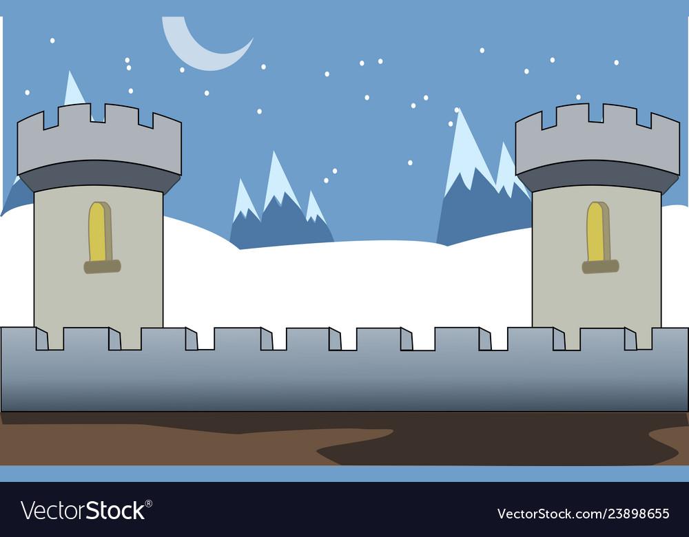 Castle 2d game background vector image