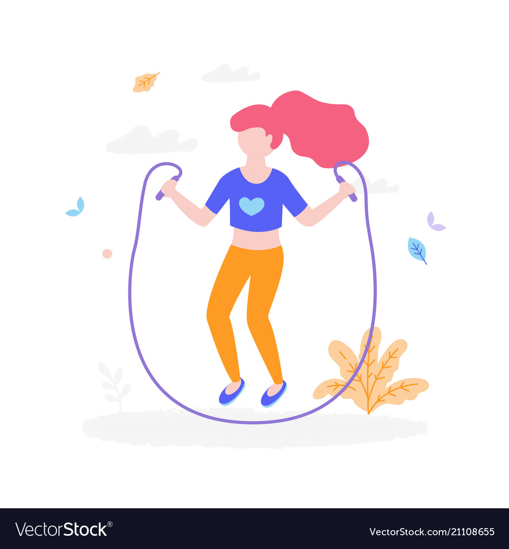 Cute girl with jumping rope outdoors in the park
