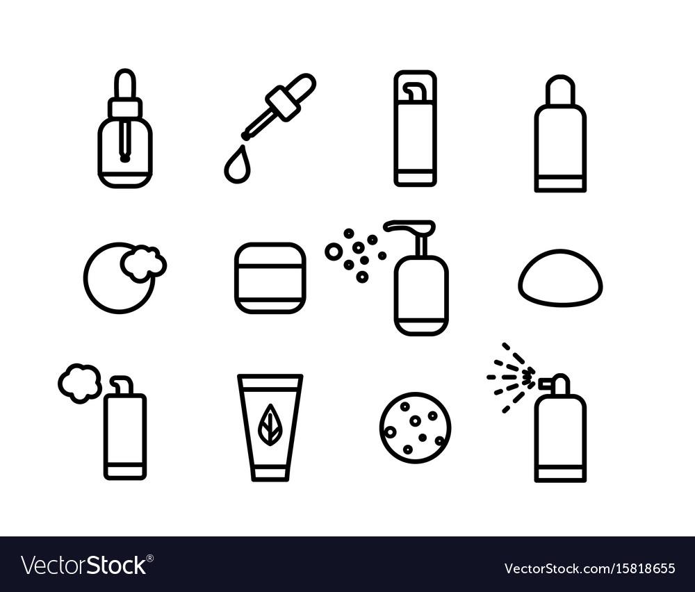 Line art cosmetics icons vector image