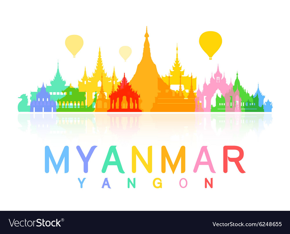 Myanmar Travel Landmarks vector image