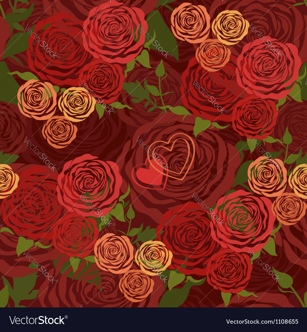 Red Valentines Day floral seamless pattern