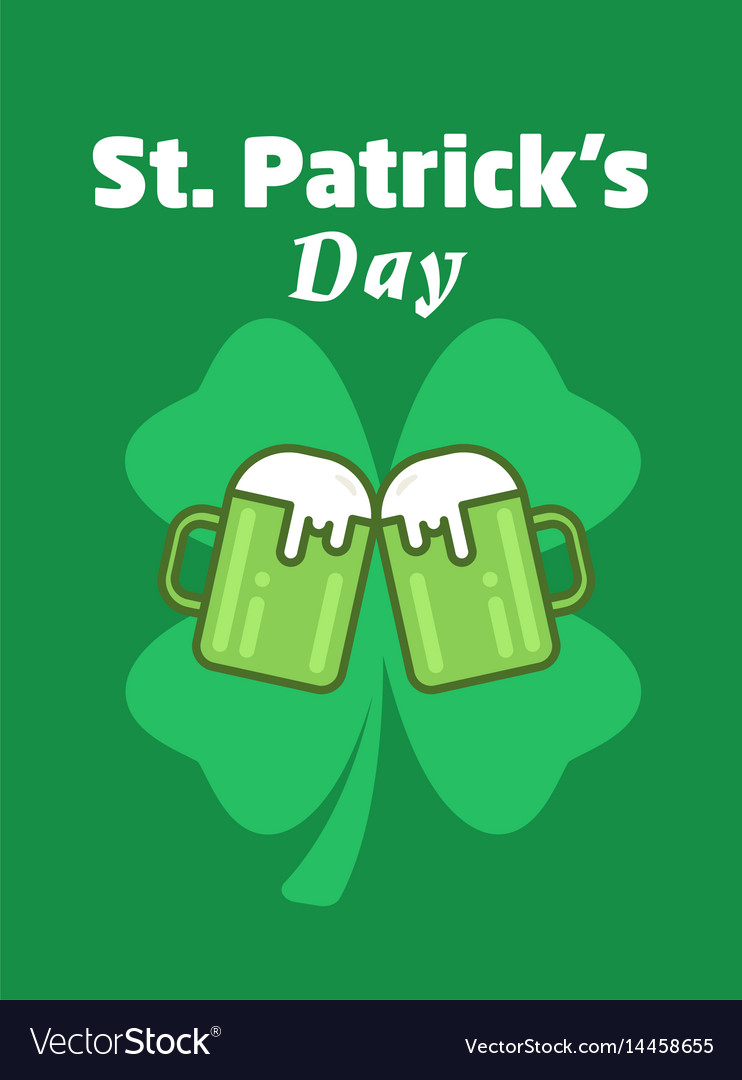 St patricks day greeting beer icon two