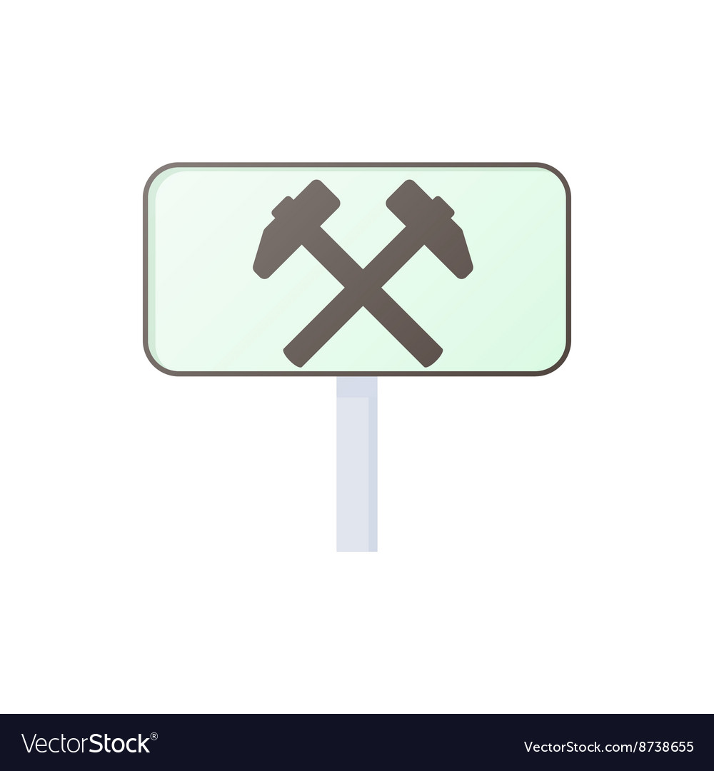 Two hammers road sign icon cartoon style