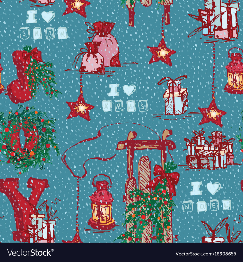 Vintage seamless merry christmas pattern in hand