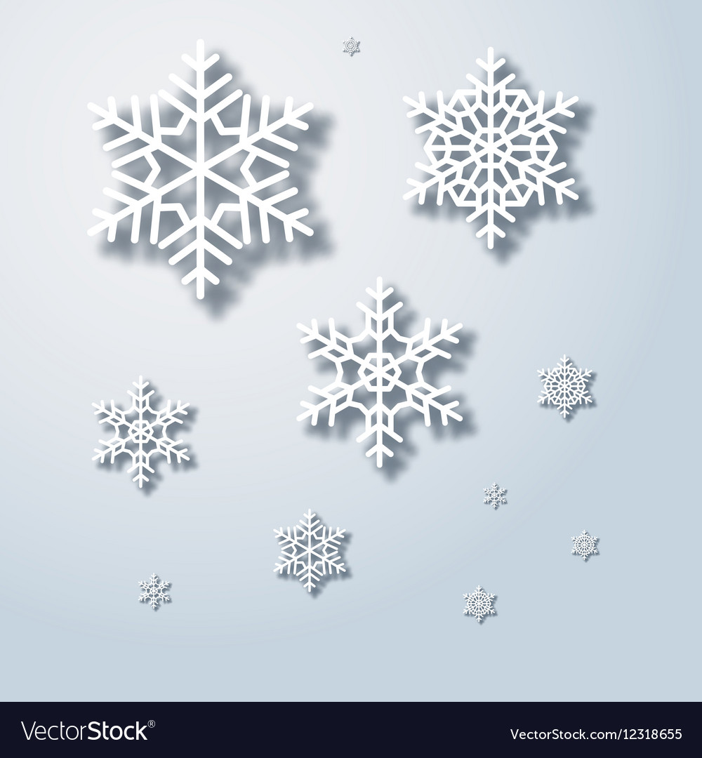Winter snowflakes background snowflake with shadow