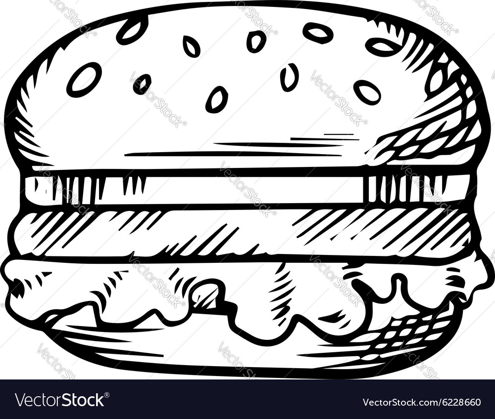Black and white sketch of a hamburger vector image