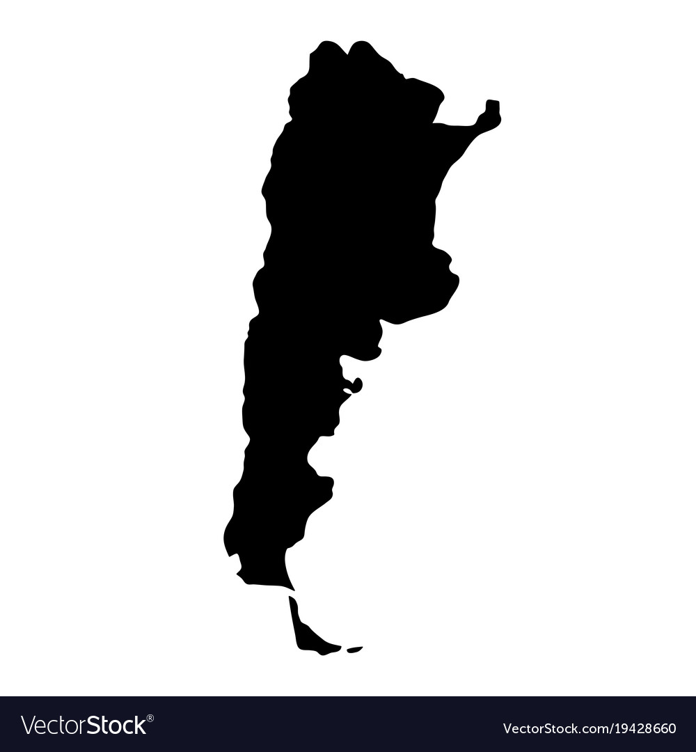 Black silhouette country borders map of argentina
