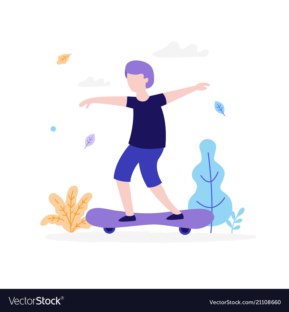 Boy skateboarding outdoors in park isolated on