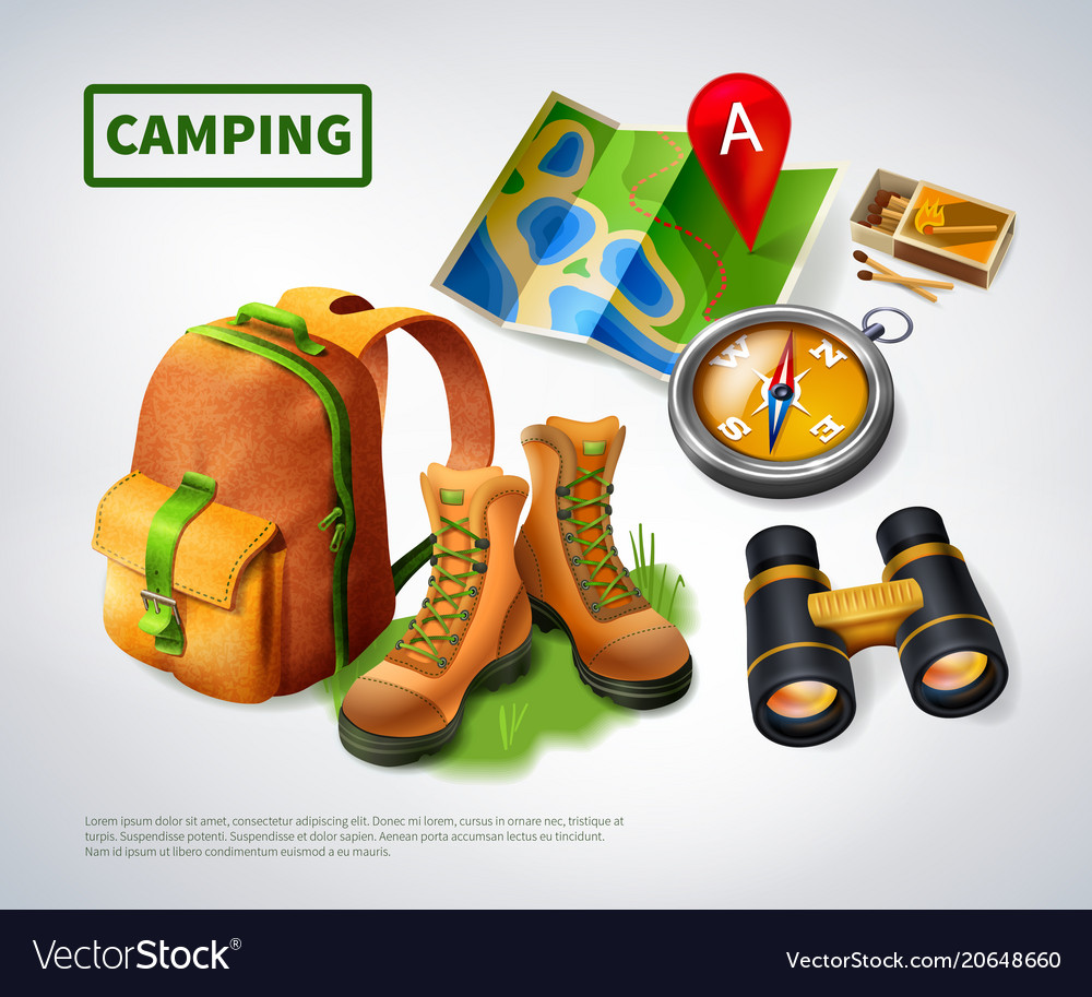 Camping realistic composition