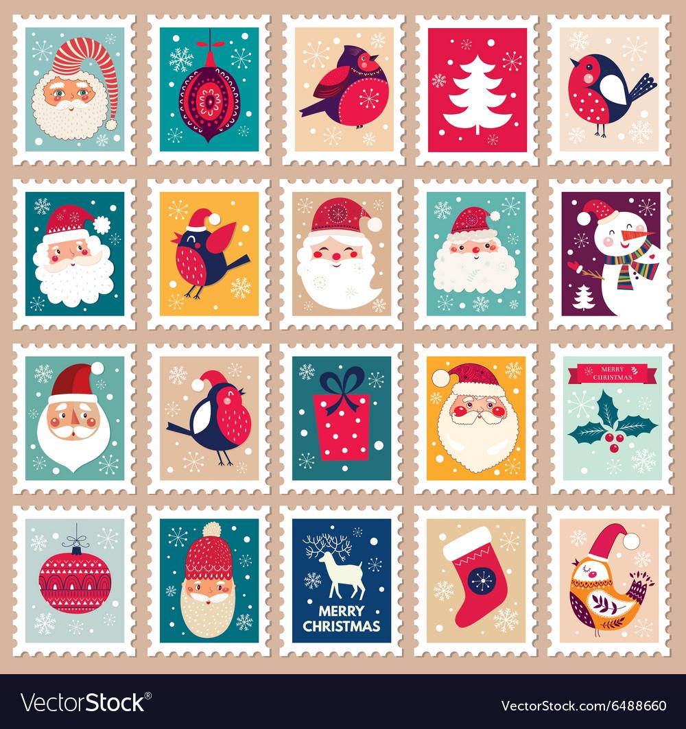 Christmas set of post stamps