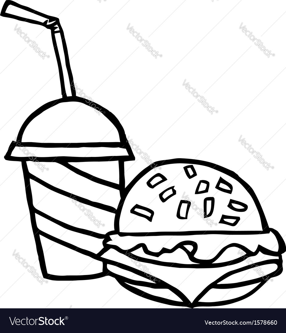 Fast food cartoon vector image