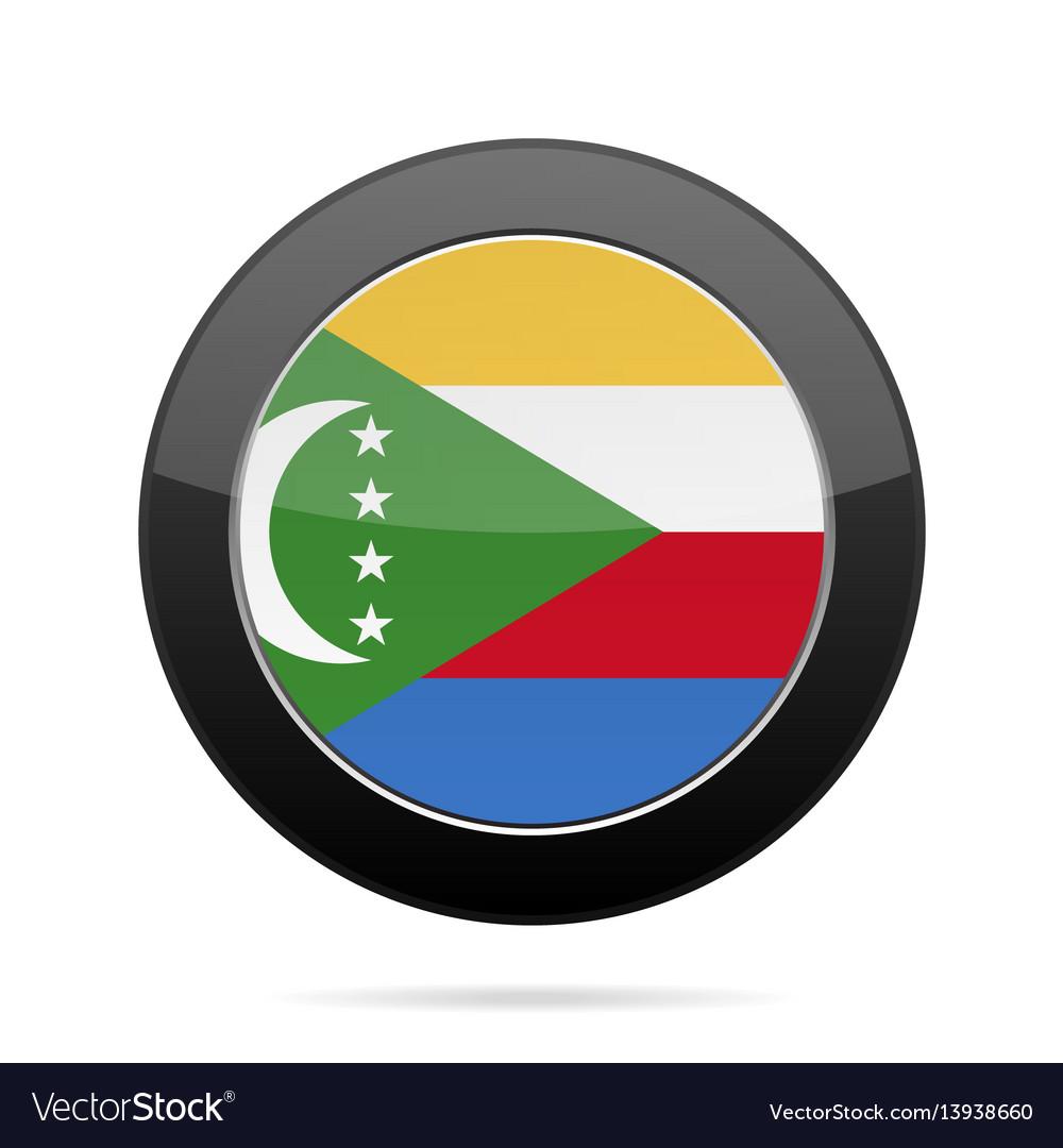 Flag of comoros shiny black round button