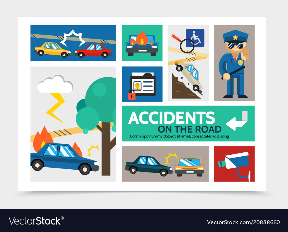 Flat auto accident infographic concept