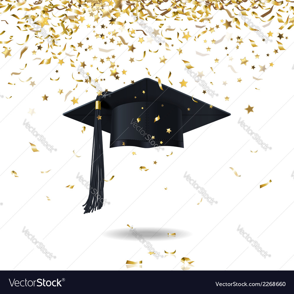 Graduate cap and confetti vector image