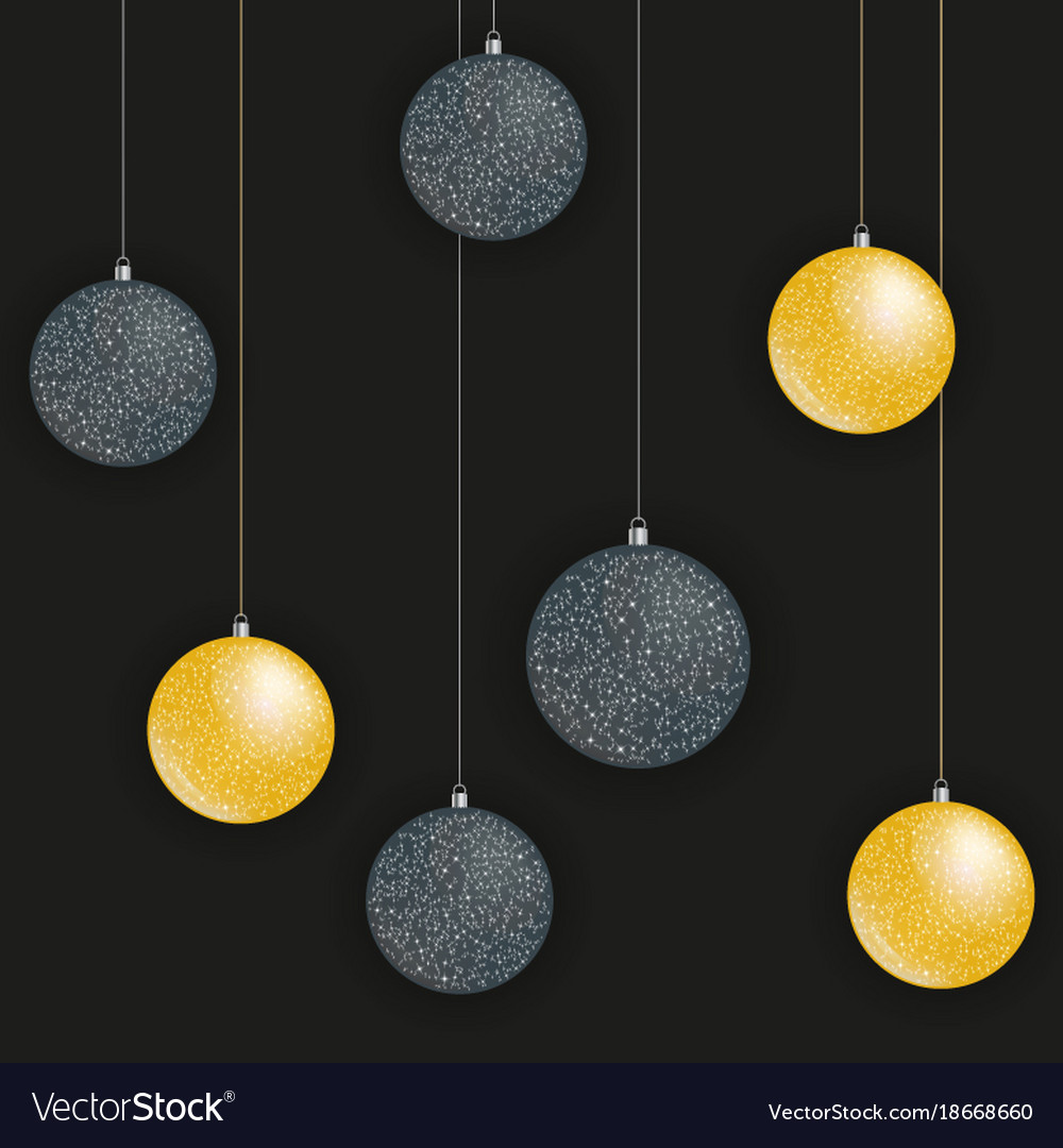 Greeting card with golden and black christmas vector image