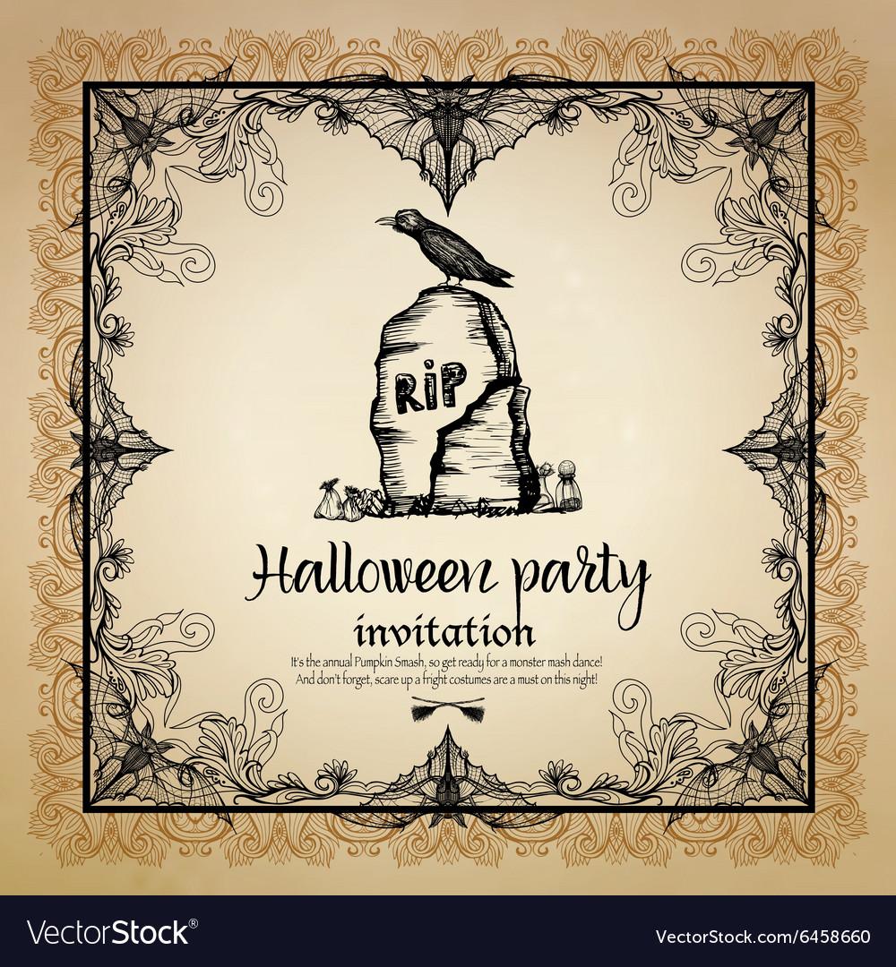 Halloween Vintage Invitation With Frame