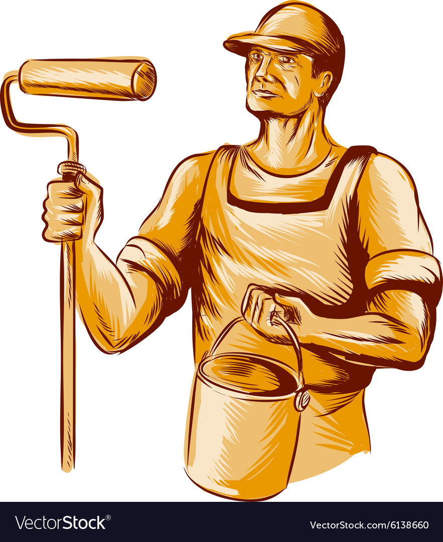 House Painter Holding Paint Roller Etching vector image