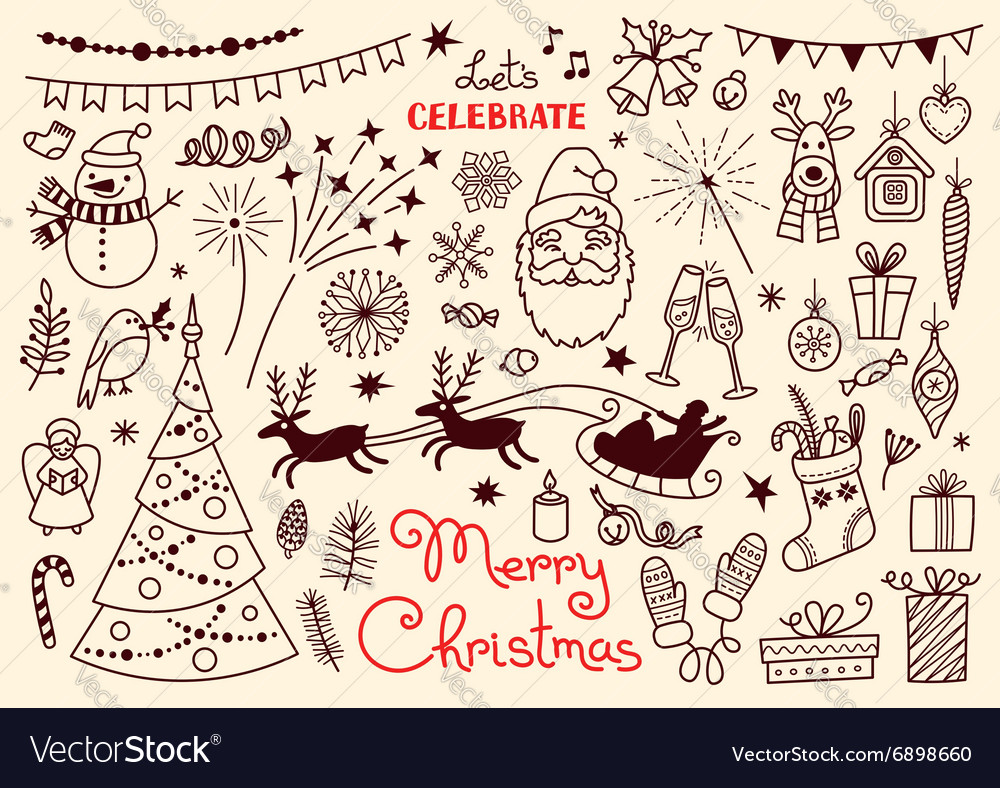 Merry Christmas Doodle set of characters and