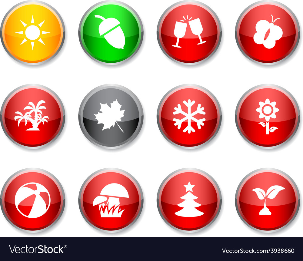 Seasons round icons vector image