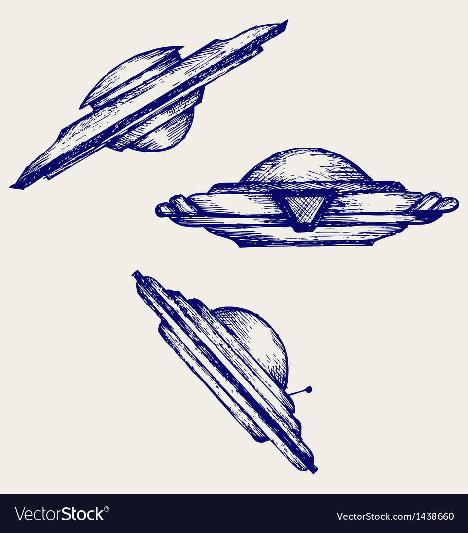 Space Flying Saucer Royalty Free Vector Image Vectorstock