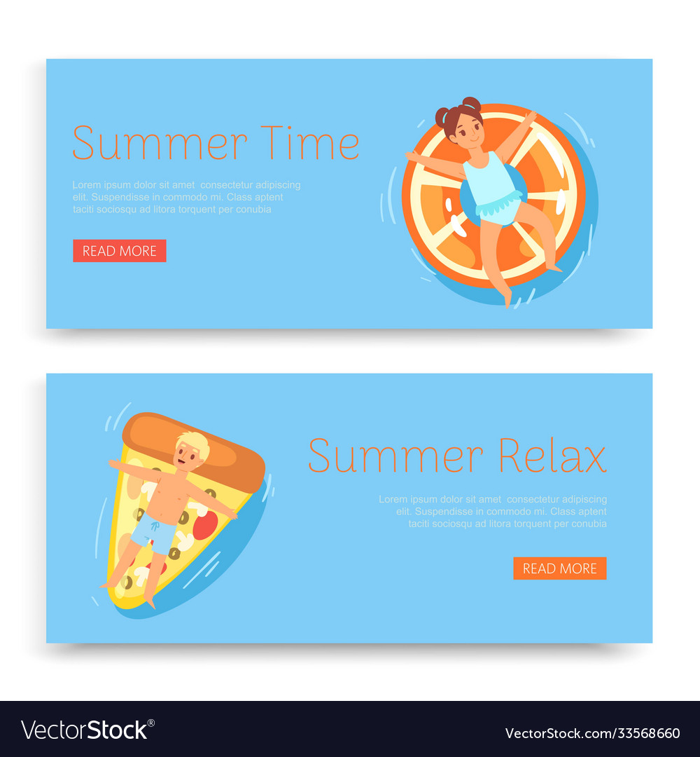 Summer time relax inscription on set banners