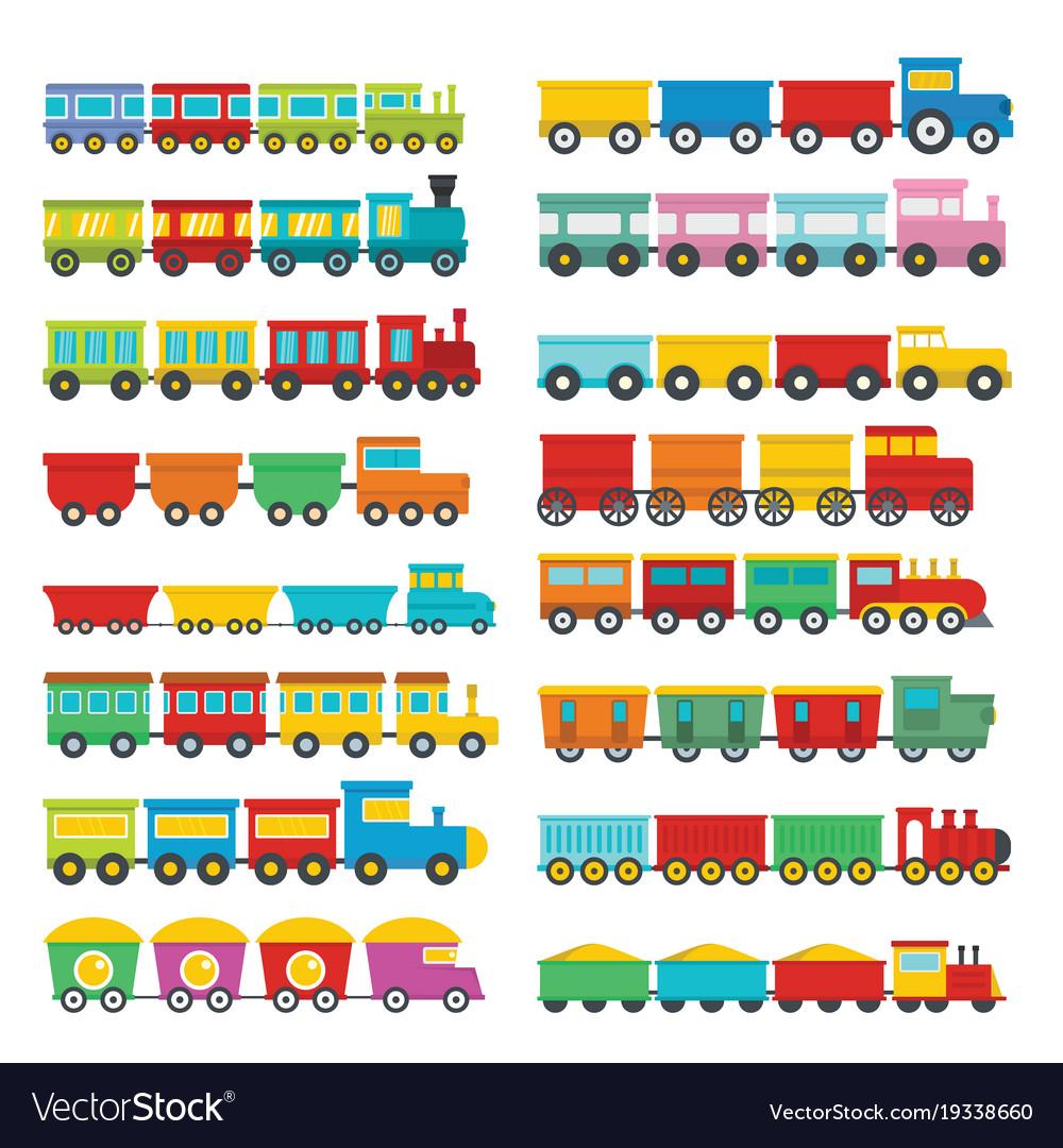 Train toy children icons set flat style