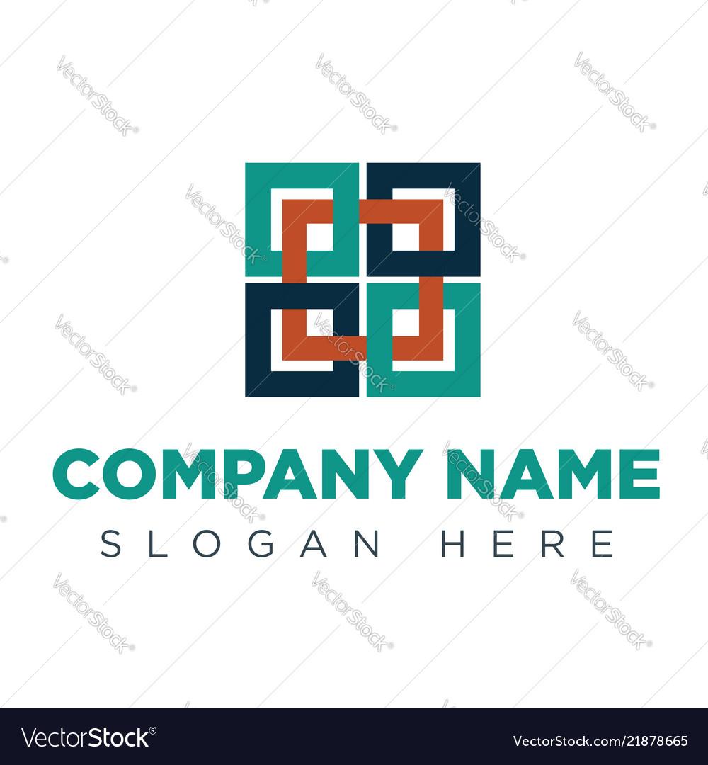 Abstract connect logo design concept emblem log