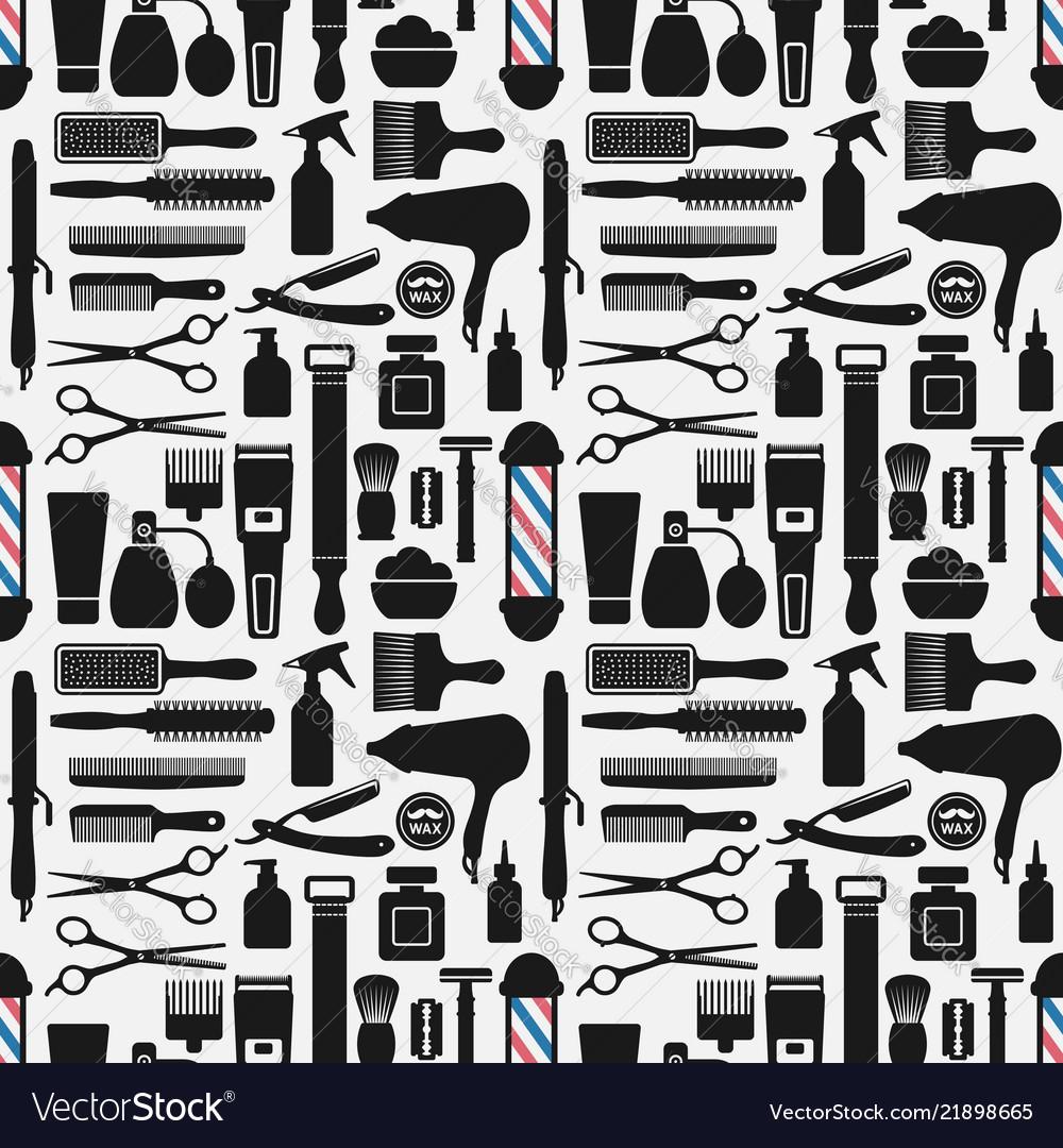 Barbershop accessories seamless pattern