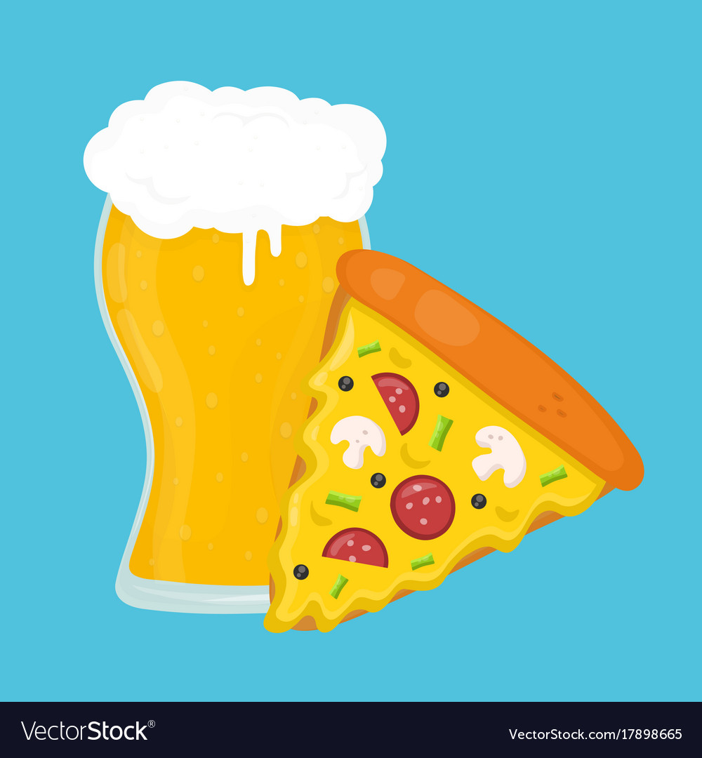 Beer and pizza flat cartoon