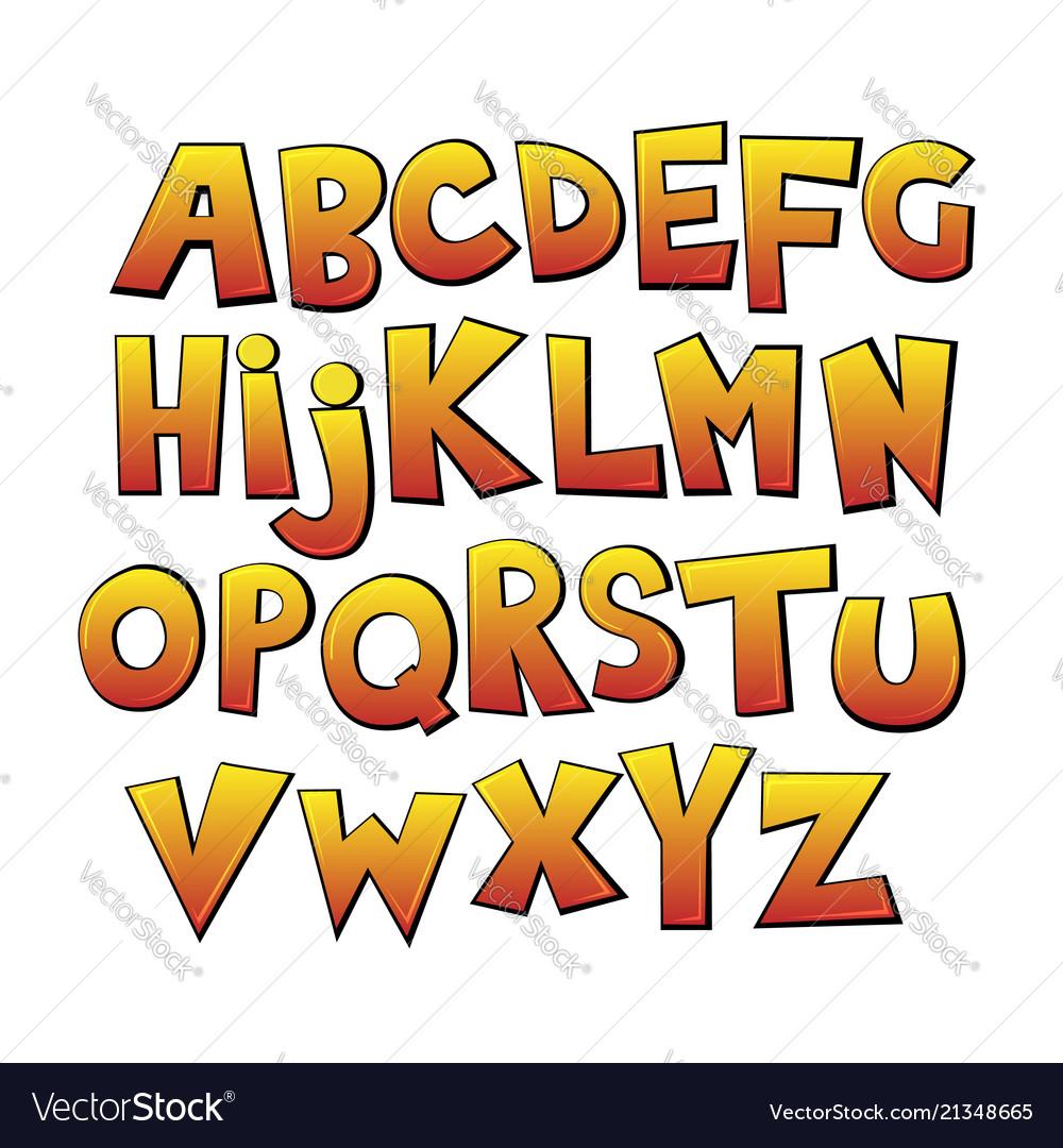 Bright cartoon colorful comic graffiti font