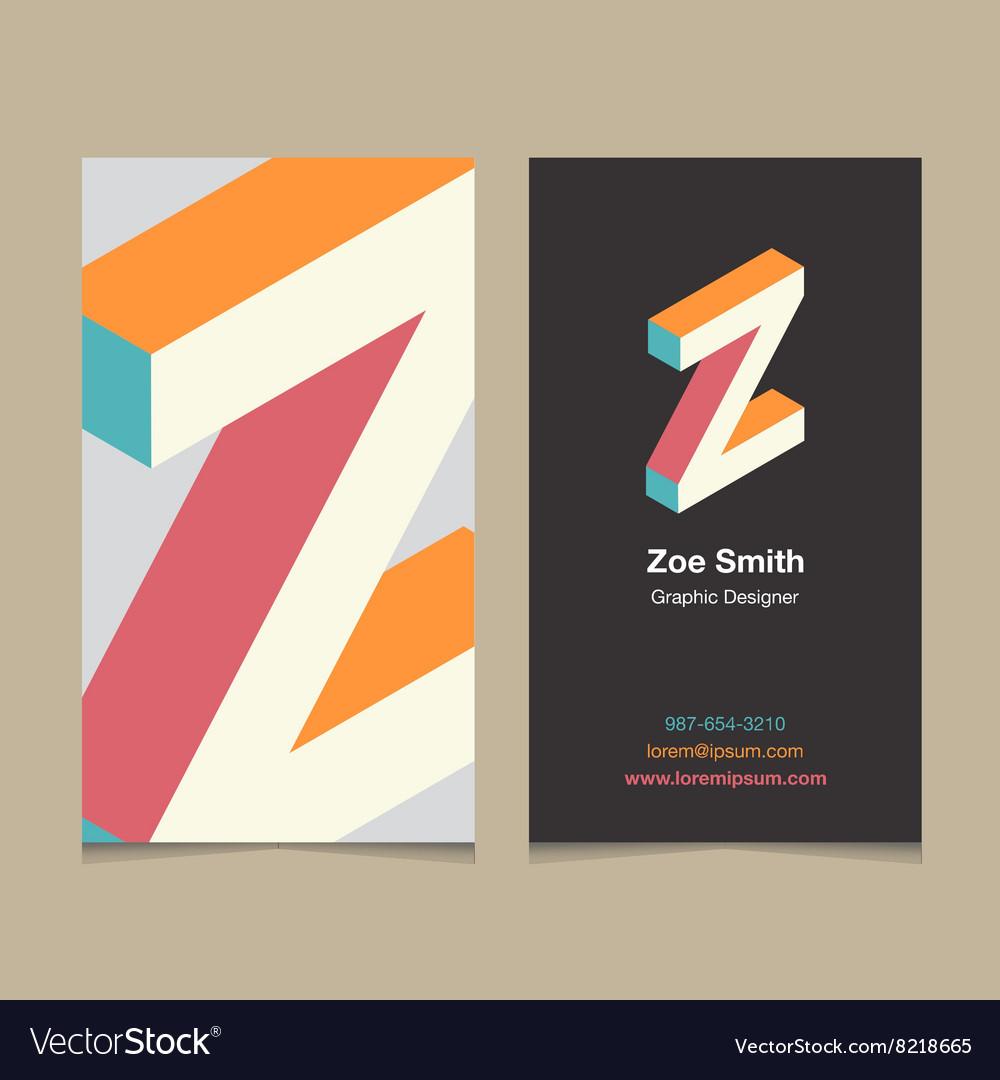 Business card letter Z
