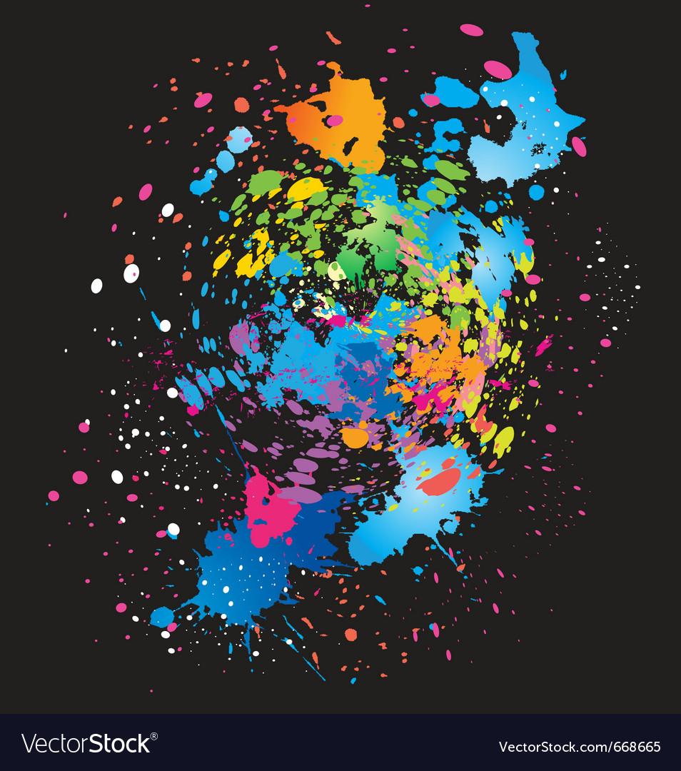 Color grunge background on black vector image