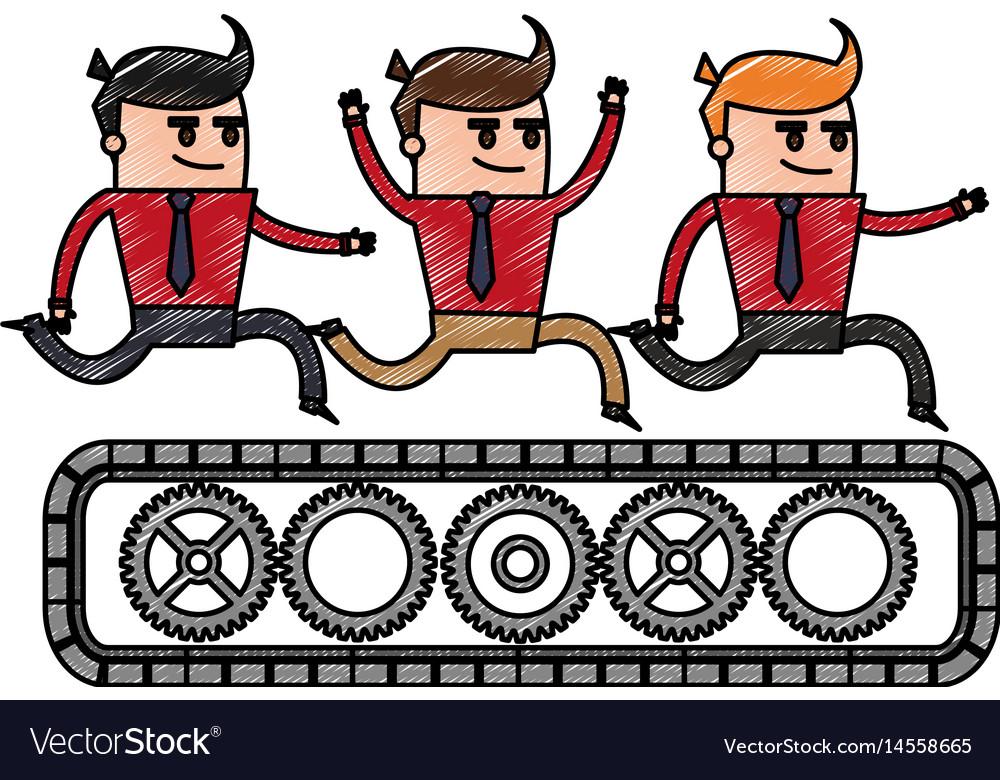 Color pencil cartoon teamwork riding an belt with