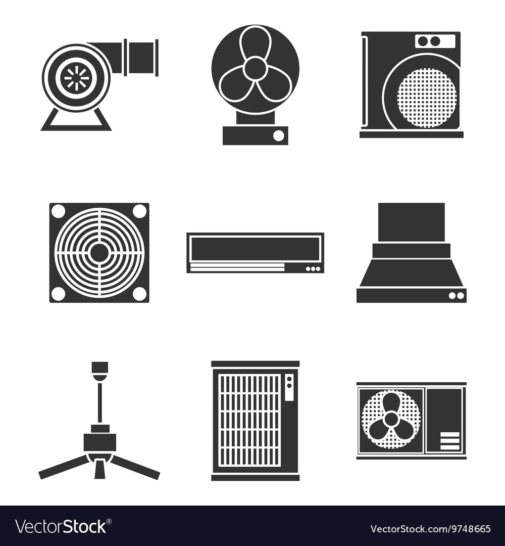 Conditioning system icons set