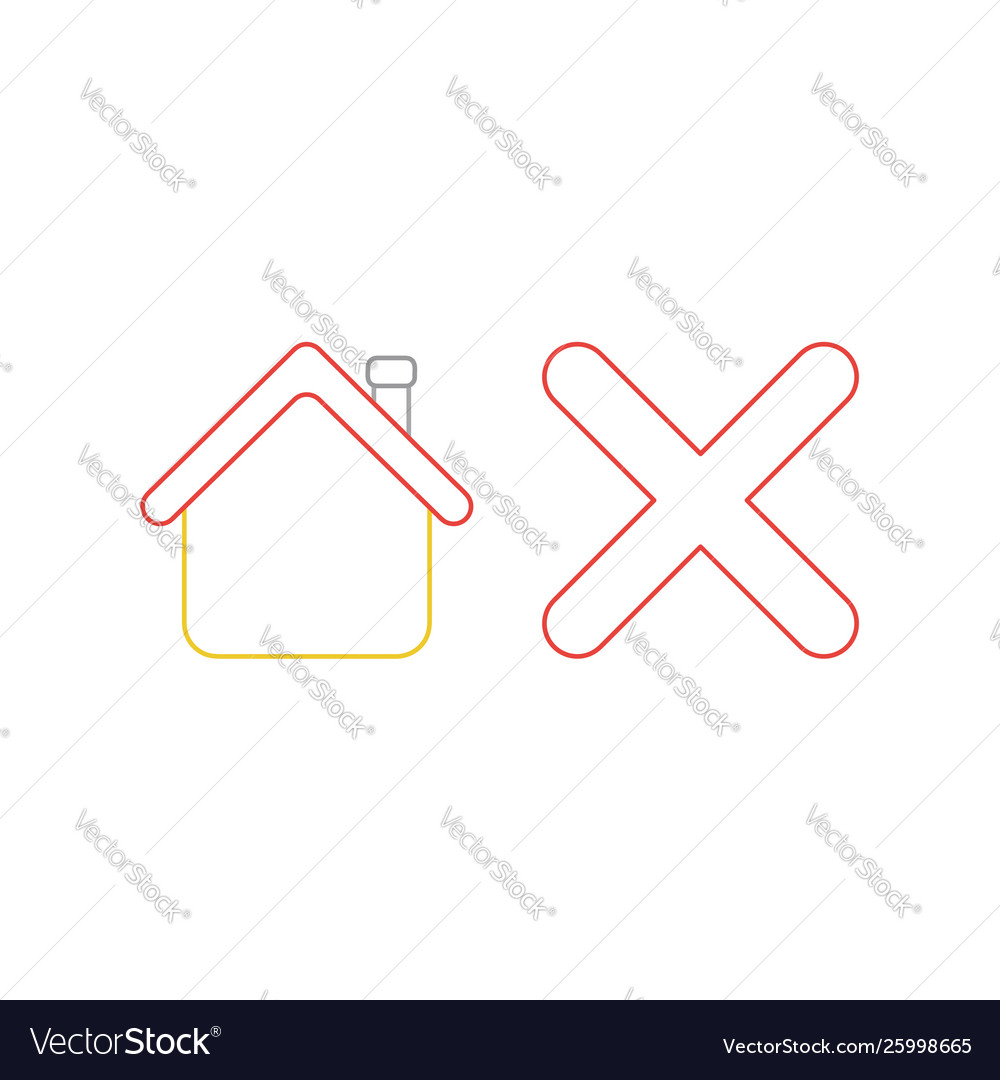 Icon concept house with x mark