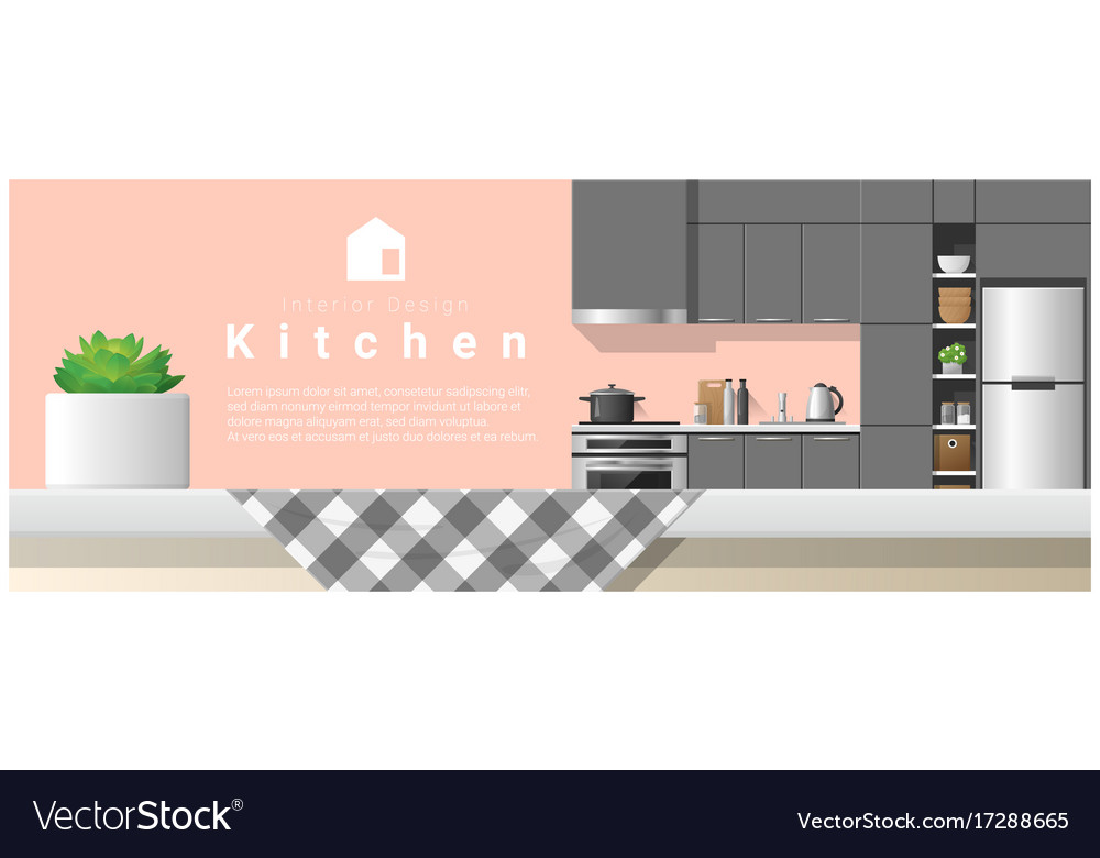 Interior design with table top and modern kitchen