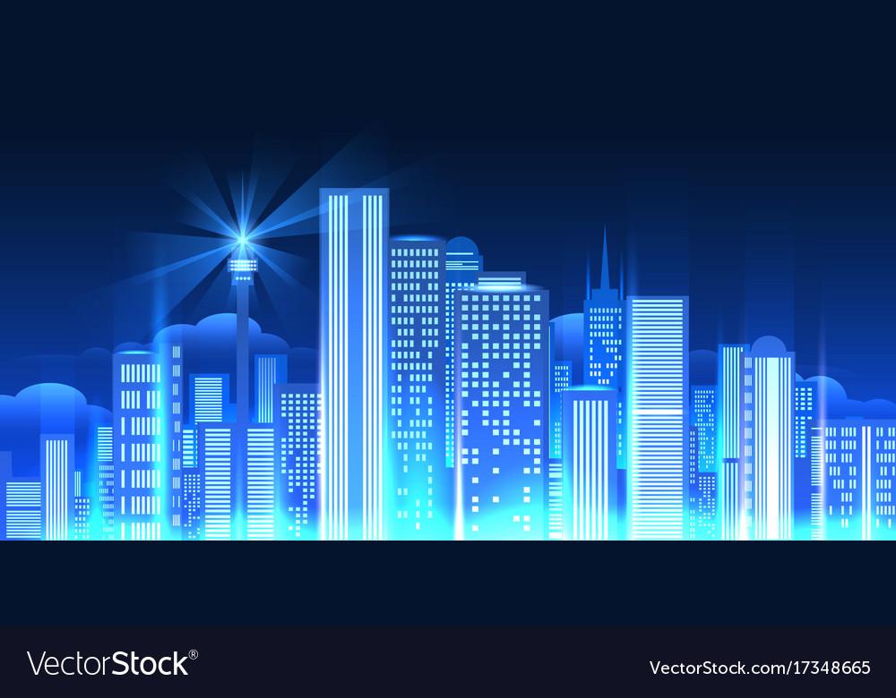 Night city lights panorama